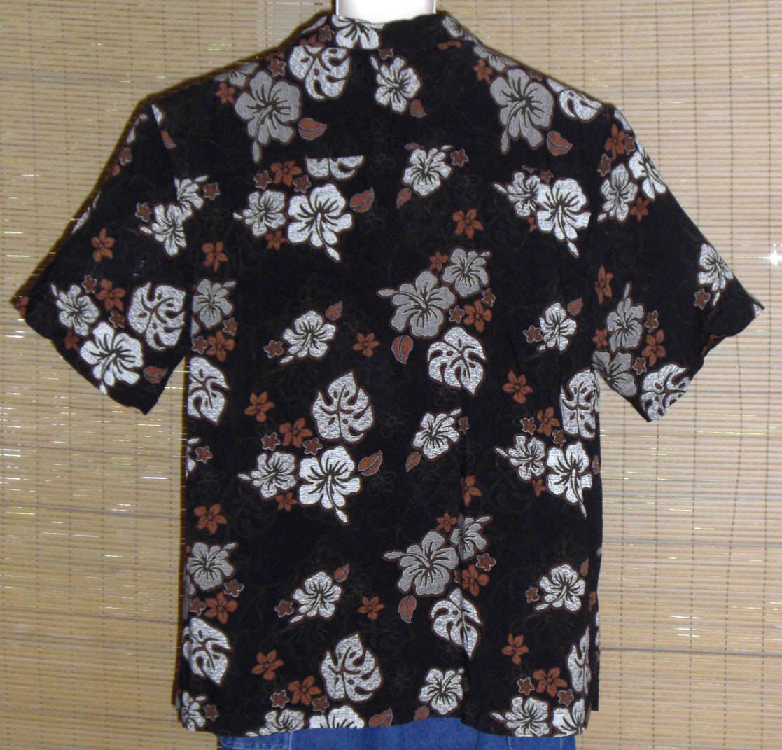 George Hawaiian Shirt Black with gray and white Hibiscus and Red flowers XL