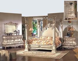 Mcferran B9087 Monaco Luxury White Finish California King Canopy Bedroom Set 5Pc