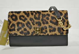 Michael Kors Natalie XL Wallet on Chain in Hair Calf/Leather Natural Bro... - $159.00