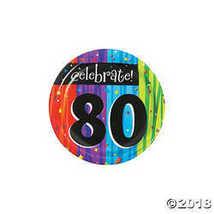 8-Count Round Paper Dessert Plates, Celebrate 80, Milestone Celebrations - $2.61