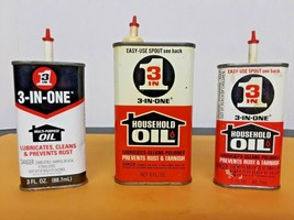 Lot  Vintage 3-in-ONE Advertising Tin OIL CAN   3oz & 8oz Three in 1Hand... - $19.75