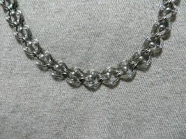 "Art Deco Danecraft Sterling Ornate Repousse Wave Links Chain Necklace 15.5"" L. - $64.99"