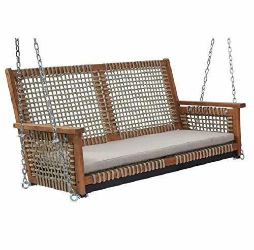 Rustic Cottage Wood & Rope Porch Swing Outdoor Garden Patio Furniture 2 Person  image 2