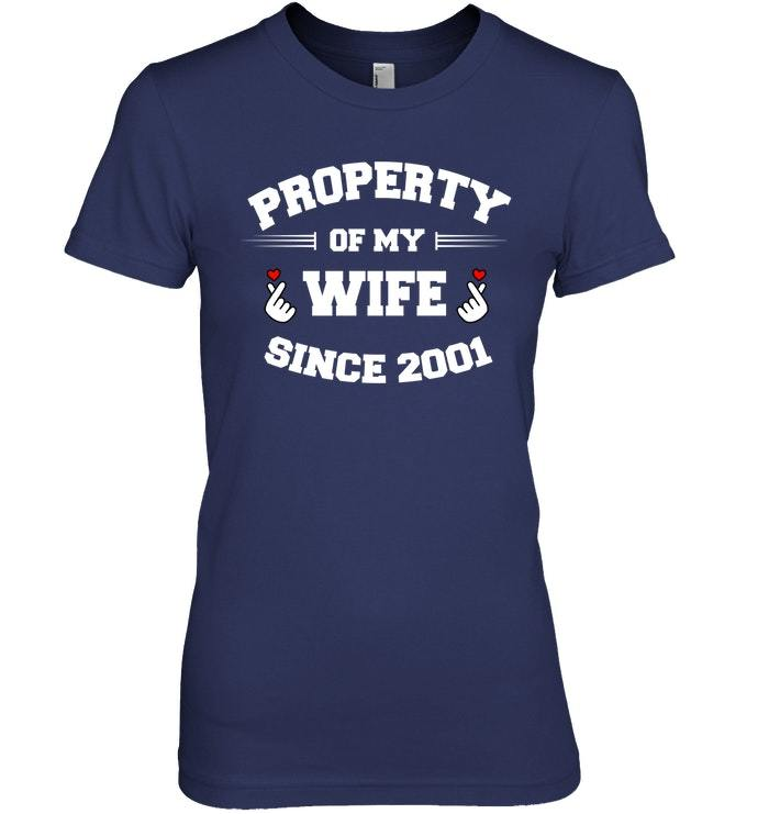 17th Anniversary Gift For Wife: 17th Anniversary T Shirt Property Of My Wife Since 2001