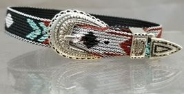 NIGHTFALL BRACELET with Silver Buckle Set Multi-Color Hitched Woven AZTE... - $9.74