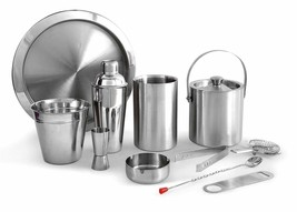 Stainless Steel Silver Plain Bar Set, Bar Tools, Bar Accessories Set of ... - $355.02