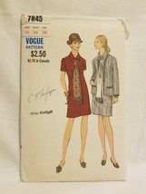 Vogue Sewing Pattern 7845 Vintage 1970s Jacket Dress Scarf Size 14 Bust ... - $12.86