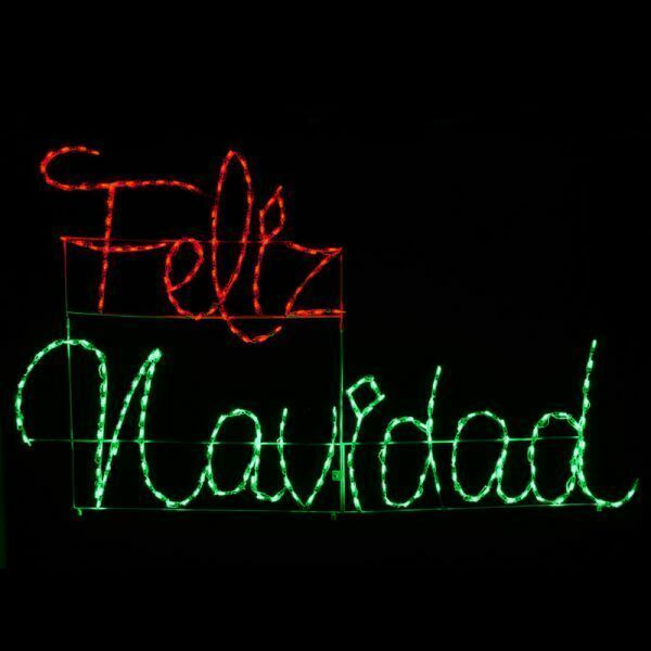 Primary image for NEW Feliz Navidad Merry Christmas Sign Outdoor LED Lighted Decoration Wireframe
