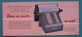 INK BLOTTER 1950s  - MONROE Calculating Machine 10 Column Bakersfield Ca... - $4.49