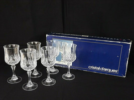 Cristal D'Arques Longchamp 17.5 CL 6 Footed Wine Glasses Labels Lead Crystal - $25.00