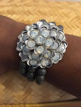 Lia Sophia Gray Bead Silver Tone Crystal Flower Stretch Bracelet. - $12.19