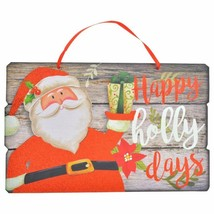 Christmas Wood Plank Decorative Sign, 14.5x9.125 in. Happy Holidays  w - $6.99