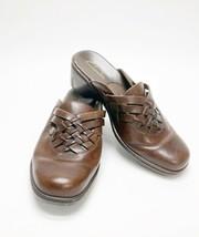 Clarks Women's Brown Slip On Slides Mules Leather Upper Size 6.5 - $14.82