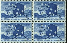 1959 Alaska Statehood Block of 4 US Airmail Stamps Catalog Number C53 MNH