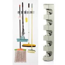 Kitchen Organizer 5 Position Mop Broom Holder Tool Wall Shelf Mounted - $20.34 CAD