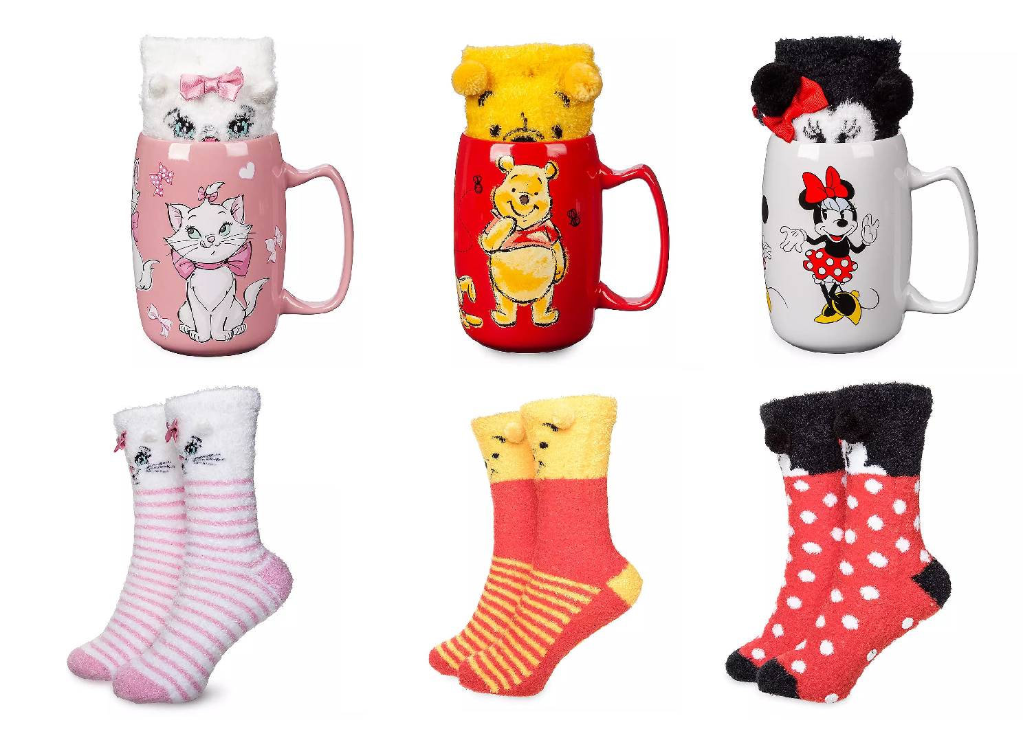 Disney Store Coffee Mug Socks Marie Winnie the Pooh Minnie Mouse 2019 New - $69.95