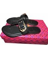 Tory Burch Marsden Flat Thongs Sandals Black Leather Shoe Flip Flops 12 - $149.00