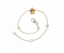 18K WHITE AND ROSE GOLD BRACELET FOR KIDS WITH ROSE ANGEL MADE IN ITALY 5.5 IN image 1