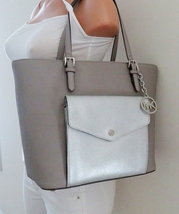 Michael Kors Jet Set Item Large Pocket MF Tote Bag Pearl Grey Silver Saf... - $128.99