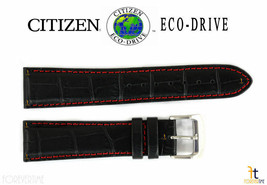 Citizen Eco-Drive CA0080-03E 21mm Black Leather Watch Band Strap S069149 - $63.85