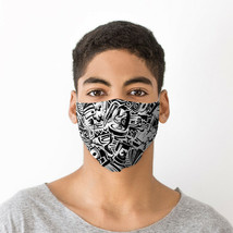 Black and White Graffiti Face Covering - Large (Rough Size Age 12+) - $9.76
