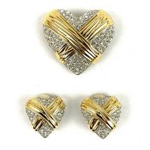 Rhinestone Studded Heart Shape Clip Earrings & Brooch Pin Set Goldtone R... - $29.77