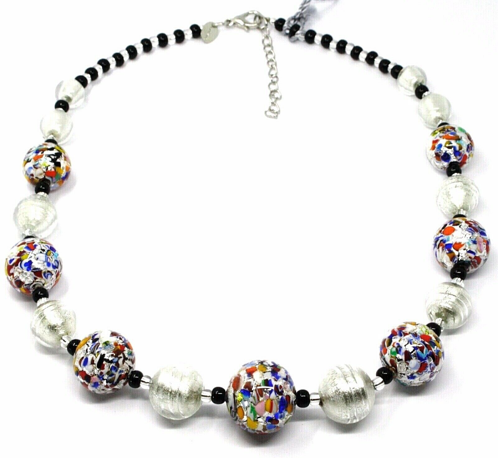 NECKLACE MACULATE MULTI COLOR MURANO GLASS BIG SPHERES, SILVER LEAF, ITALY MADE