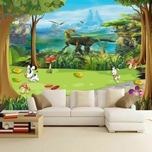Wallpaper Living Room Children's Custom Cartoon Beautiful Forest Dinosau... - $14.29