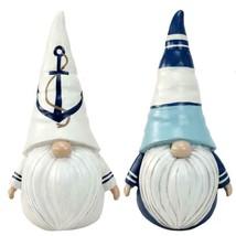 "Set of 2 -  9.5"" Nautical Gnome Design Figurines w Nautical Accents Blue & White"