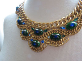 VTG Brania Bib Necklace Mimi Di N Collar Parue Blue Rhinestones Peacock Eye Cabs image 10