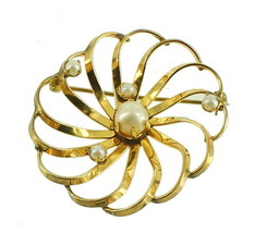 VINTAGE DECO 40'S 12K GF GOLD FILLED SUN BURST 6.5MM X 4MM PEARLS PIN - $67.49