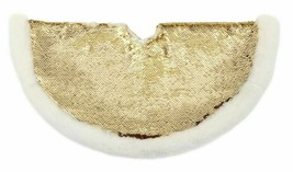 "18"" Gold Sequin w White Faux Fur Trim Mini Christmas Tree Skirt Wondershop NEW"