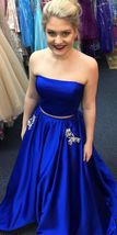 2018 two piece royal blue long prom dress, strapless prom dress party dress - $159.00