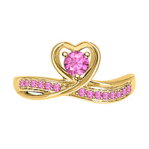 RoundCut Pink Sapphire 14k Yellow Gold Over 925 Silver Lovely Heart Promise Ring - $50.57