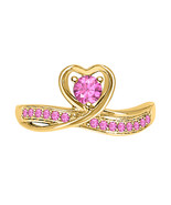 RoundCut Pink Sapphire 14k Yellow Gold Over 925 Silver Lovely Heart Prom... - $69.99