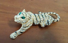 Hard to Find EISENBERG ICE Rhinestone and Enamel Tiger Pin Brooch MINT - $89.95