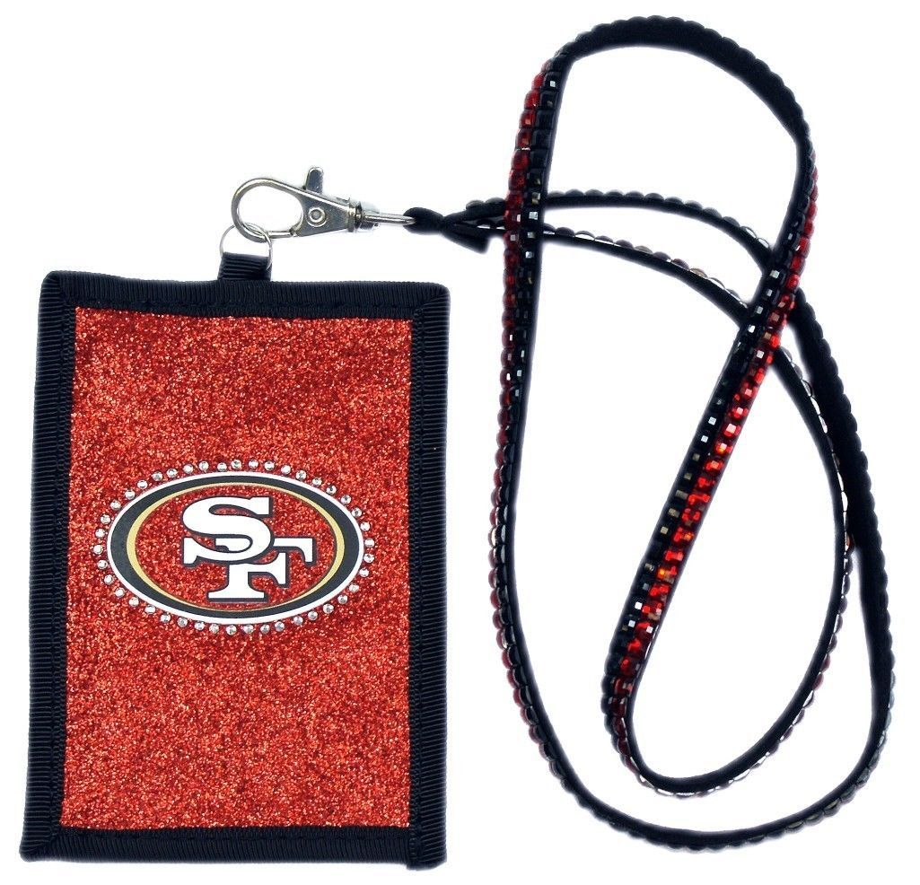 SAN FRANCISCO 49ERS BEADED LANYARD ID CREDIT CARD ZIPPER POCKET WALLET FOOTBALL