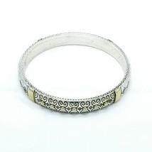 Vintage Brighton Signed Silver Gold Tone Etched Filigree Studded Bangle Bracelet - $24.24