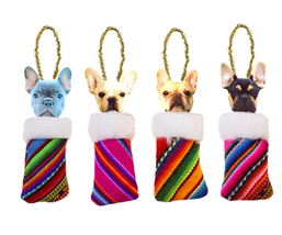 Set of 4 Tribal Peruvian Doggies, Christmas Tree Ornaments. Peruvian Orn... - $16.85