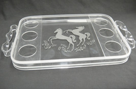 Mid Century Lucite and Glass Beverage Serving Tray Etched Horses Twisted... - $89.09