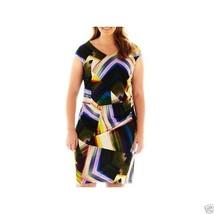 R&K Originals Ruched Print Dress Plus Sizes 2X, 3X New MSRP $70.00 - $24.99