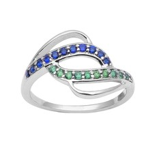 Green & Blue Cubic Zirconia Gemstone 925 Sterling Silver Ring Size-6.5 S... - £10.85 GBP