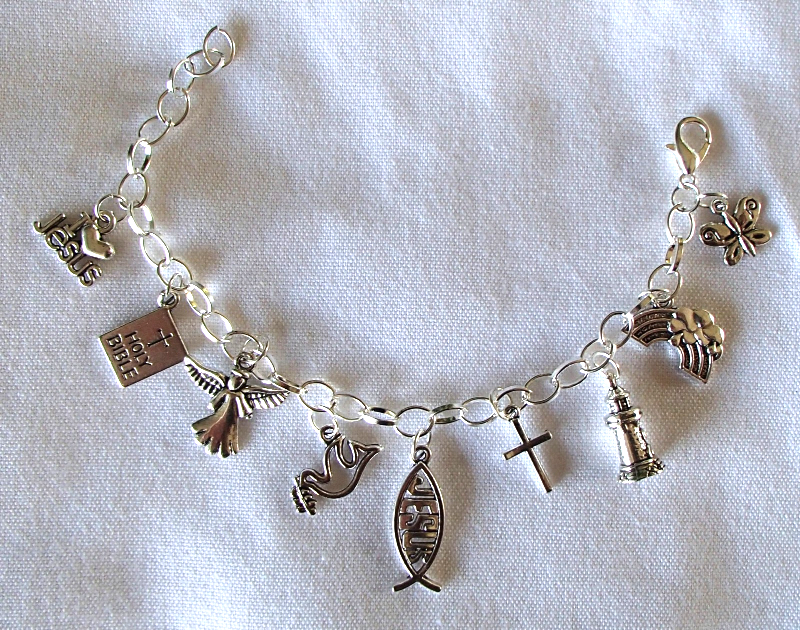 Christian Theme Charms SP Chain Link Adjustable Bracelet Handmade With Gift Bag