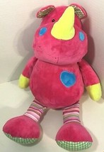 Beverly Hills Teddy Bear Co. Rhino plush large pink yellow blue heart st... - $17.81