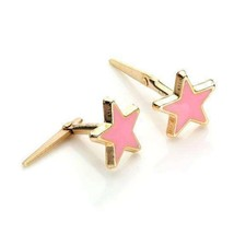 Unique Solid Real andralok 9ct yellow gold enamelled star stud earrings - $74.56