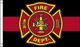 FIREFIGHTER EMBLEM RED LINE 3 X 5 FLAG FL735 honor pride fire fighter ba... - $6.27