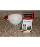 2 Pc KitchenAid Box Grater w/Container & Colander Empire Red NWT FREE SH... - $49.49
