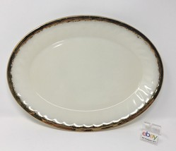 """Vintage Fire King Large Oval Platter - 12"""" Wide - Swirl Pattern with Gold Trim - $7.99"""