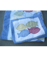 Pottery Barn Fish Patchwork Twin Quilt & Standard Sham Blue Red Nautical... - $55.00