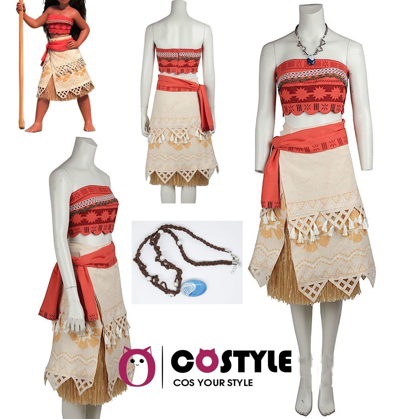 Primary image for US ship Adult Moana Princess Dress Halloween Party Fancy Ball Costum Full Set